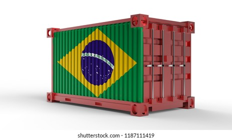 3d rendering of a shipping cargo container with Flag of Brazil