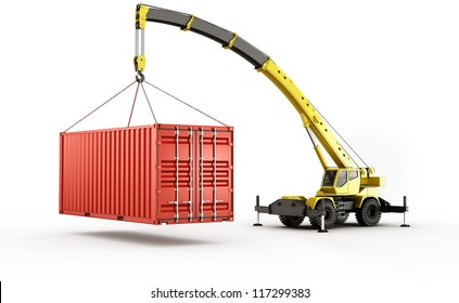 3d rendering of a shipping container being carried by a mobile crane.. barely