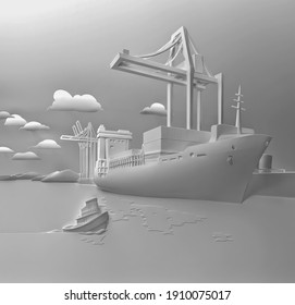 3d rendering ships with containers.