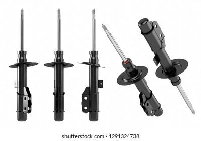 3D rendering. Shock Absorber, new auto parts, spare parts. Shock absorber for shop, aftermarket OEM. Passenger car shock absorber