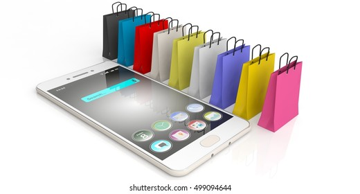 3d rendering shopping bags and a smart phone on white background