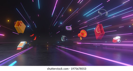 3d rendering of Shopping products and neon light.