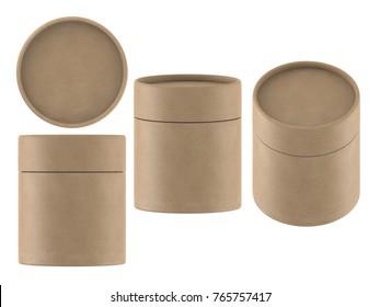 3D rendering short kraft paper tube packaging mock up on white background