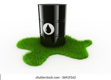3d rendering showing an oil drum on a spot of green grass