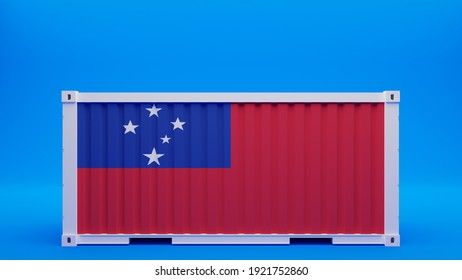 3D Rendering of Side View Shipping Container on Blue Background with the Flag of Samoa