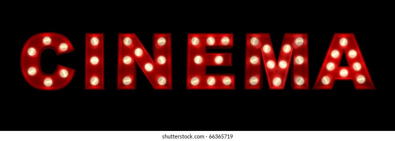 3D rendering of the sign Cinema written with glowing letters