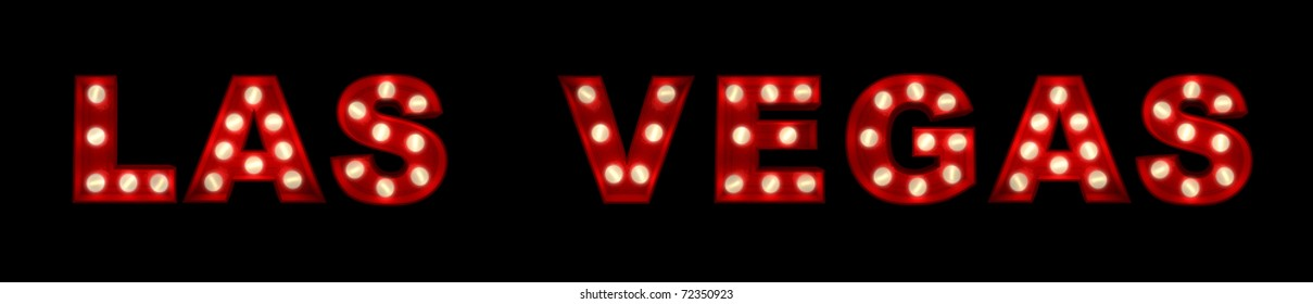 3D rendering of the sign Las Vegas written with glowing letters