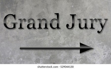 A 3d rendering of a sign on a concrete wall for Grand Jury