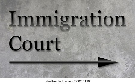 A 3d rendering of a sign on a concrete wall for Immigration Court