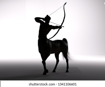 3D Rendering : A silhouette portrait of the male centaur, a pinup centaur posing with a bow in his hand as the centaur archer