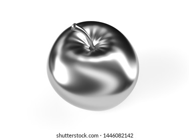3d rendering silver apple.High resolution 3D image. 3d illustration