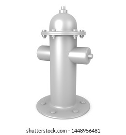 3D Rendering of silver grey fire hydrant. 3D Rendering isolated on white.