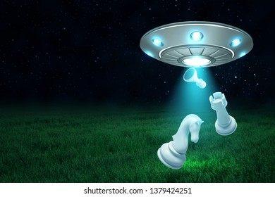 3d rendering of silver metal UFO with chess pieces on dark night sky and green grass background. Science fiction. Extraterrestrial life. Space technology.