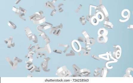 3D Rendering Of Silver Numbers Falling