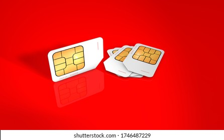 3D rendering of sim card for mobile phones on a reflective red background