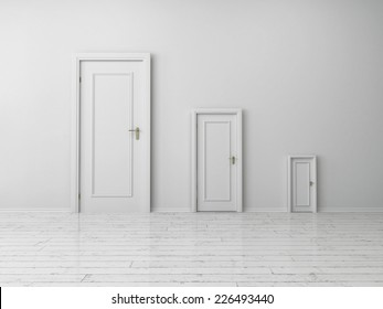3d Rendering of Similar Style but Different Sizes White Indoor Doors on Plain White Wall Inside an Empty House.