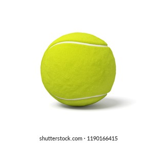 3d rendering of a single acid green tennis ball standing on a white background with a shadow. Tennis play. Games and sets. Wimbledon gear.