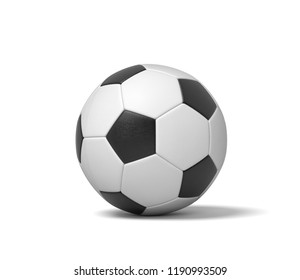 3d rendering of a single black and white leather ball for playing football or soccer. Game gear. Sport equipment. Team playing.