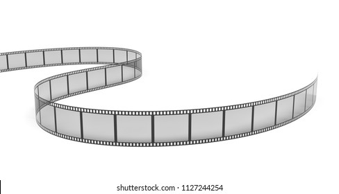 3d rendering of a single film strip arranged in turns and bends on white background. Media and art. Movies and films. Retro technologies.