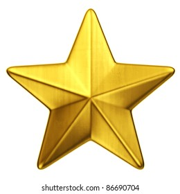 3d rendering of a single gold star