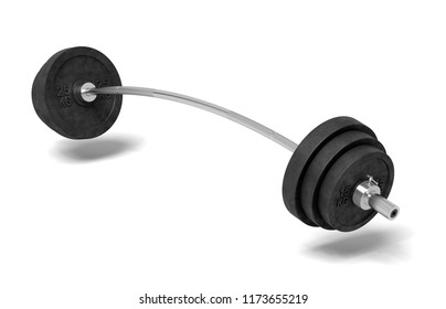 3d rendering of a single metal barbell bent to both sides because of very heavy weights added on it. Physical training. Gym routine. Body and health.