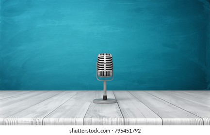 3d rendering of a single metal retro microphone placed on its short stand over a wooden desk. Performance arts. Singing and broadcasting. Podcast business.