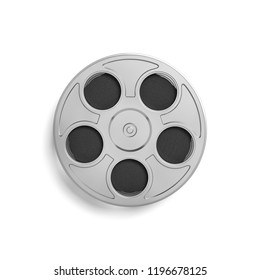 3d rendering of a single movie reel with a lot of film taped tightly inside of it in a top view on a white background. Movie footage. Directing movies. Creating cinema art.