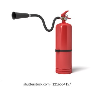 3d rendering of a single red fire extinguisher with its hose lifted up the nozzle pointed straight. Ready to put fire down. Fire fighting. Protect your home from fire.