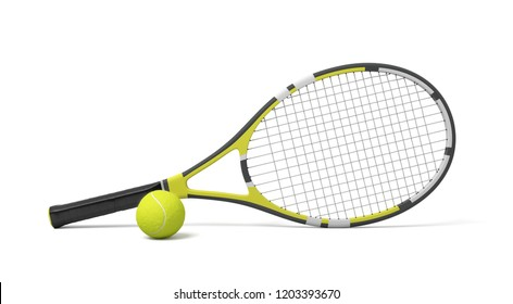 3d rendering a single tennis racquet lying with a yellow ball on white background. Tennis as sport. Tennis as hobby. Tennis classes.