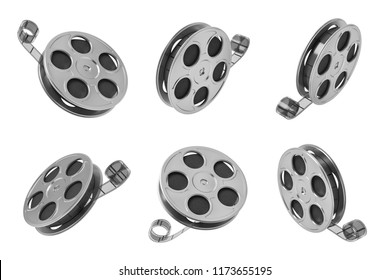 3d rendering of six black movie tape reels in different angles on white background. Old school cinema. First movies. Motion picture.