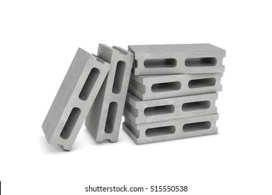 3d rendering of six cinder blocks isolated on the white background. Building materials. The construction industry.