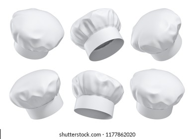 3d rendering of six white chef's hats isolated on a white background in different angles. Master chef. Restaurant cook. Kitchen headgear.