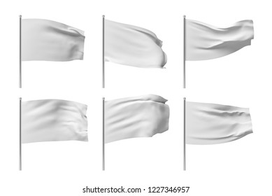 3d rendering of six white flags hanging on posts and wavering on a white background. Throwing white flag. Symbol of freedom. Surrender and giving up.