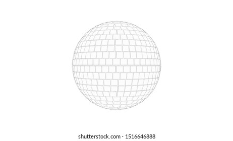 3d rendering sketch of a discoball isolated in white studio background