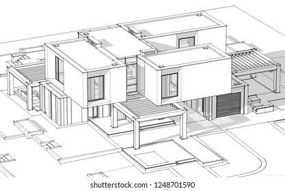 3d rendering sketch of modern cozy house by the river with garage for sale or rent. Black line sketch with soft light shadows on white background.