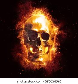 3D rendering skull in flames