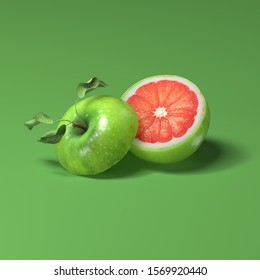 3d rendering of sliced green apple with grapefruit inside. Another pulp inside fruit.  Mixed taste.  Multifruit illustration for juice or nectar. Isolated on bright green background with soft shadow