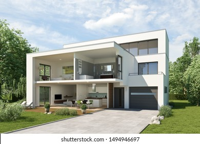 3d rendering of a sliced house