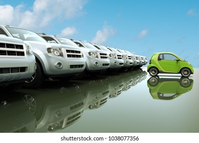 3D rendering of small, eco friendly car in front of a row of large fuel consumer cars
