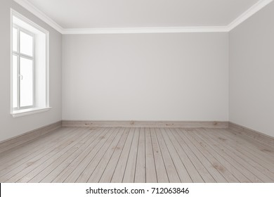 3d rendering of Small Empty Room with Strip Flooring