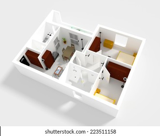 3d rendering of small flat with walls and furniture