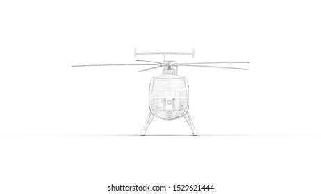 3d rendering of a small helicopter isolated in white background