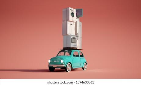 3D-Darstellung eines kleinen Retro-Autos mit einem Haufen Haushaltsgeräte oben