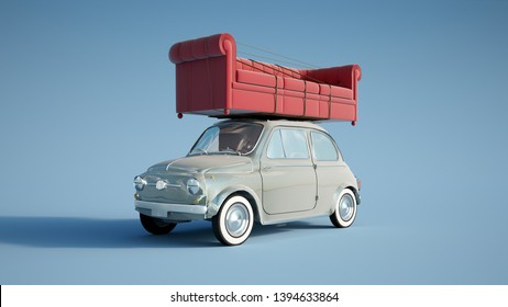 3D rendering of a small retro car carrying a big sofa