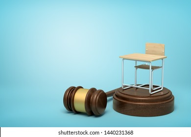 3d rendering of small single seat desk standing on brown sound block with gavel lying beside block on blue background with copy space. Shape future of education. School violence. Juvenile justice.