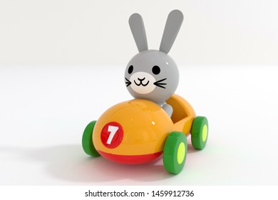 3d rendering of a small toy plastic sports car with driver rabbit  on a white backgr