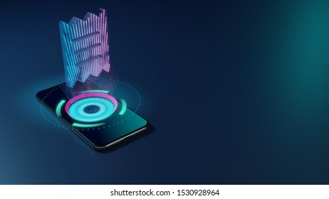3D rendering smartphone with display emitting neon violet pink blue holographic symbol of paper bill piece icon on dark background with blurred reflection