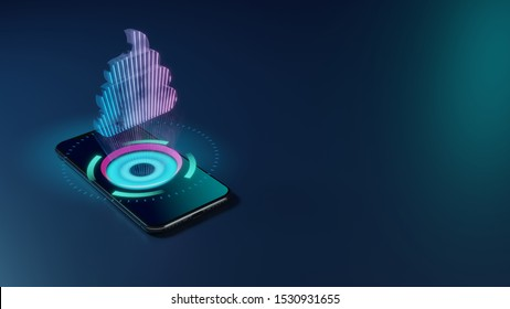 3D rendering smartphone with display emitting neon violet pink blue holographic symbol of poo icon on dark background with blurred reflection