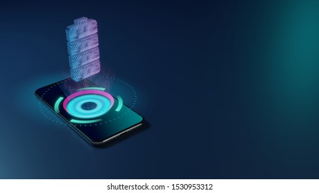 3D rendering smartphone with display emitting neon violet pink blue holographic vertical symbol of full charged four pieces battery  icon on dark background with blurred reflection