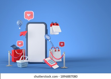 3d rendering of smartphone and Online shopping.